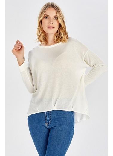 Peraluna Peraluna Ön Ve Arka Pile Detaylı Beyaz Salaş Triko Kadın  Bluz Beyaz